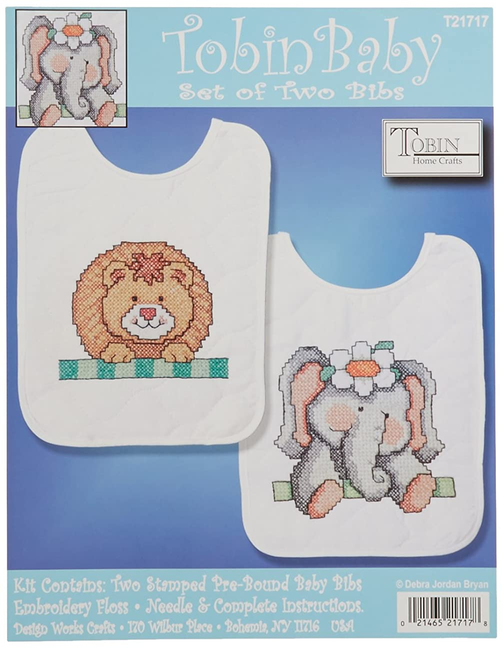 Tobin Noah's Ark Bib Pair Stamped Cross Stitch Kit, 8 by 10-Inch, Set of 2