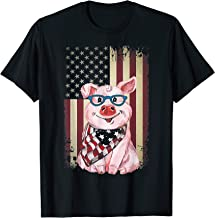 American Flag Pig t-Shirt Funny 4th of July USA America T-Shirt