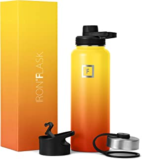 IRON °FLASK Sports Water Bottle - 14oz, 18oz, 22oz, 32oz, 40oz, or 64oz, 3 Lids (Spout Lid), Vacuum Insulated Stainless, M...