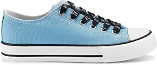 JENN ARDOR Fashion Women's Canvas Low Top Sneaker Lace-up Slip On Shoes Classic Casual Shoes for Walking Blue