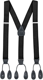 Hold'Em Suspender for Men Made in USA Y-Back Genuine Leather Trimmed Button End Tuxedo Suspenders Many colors and designs