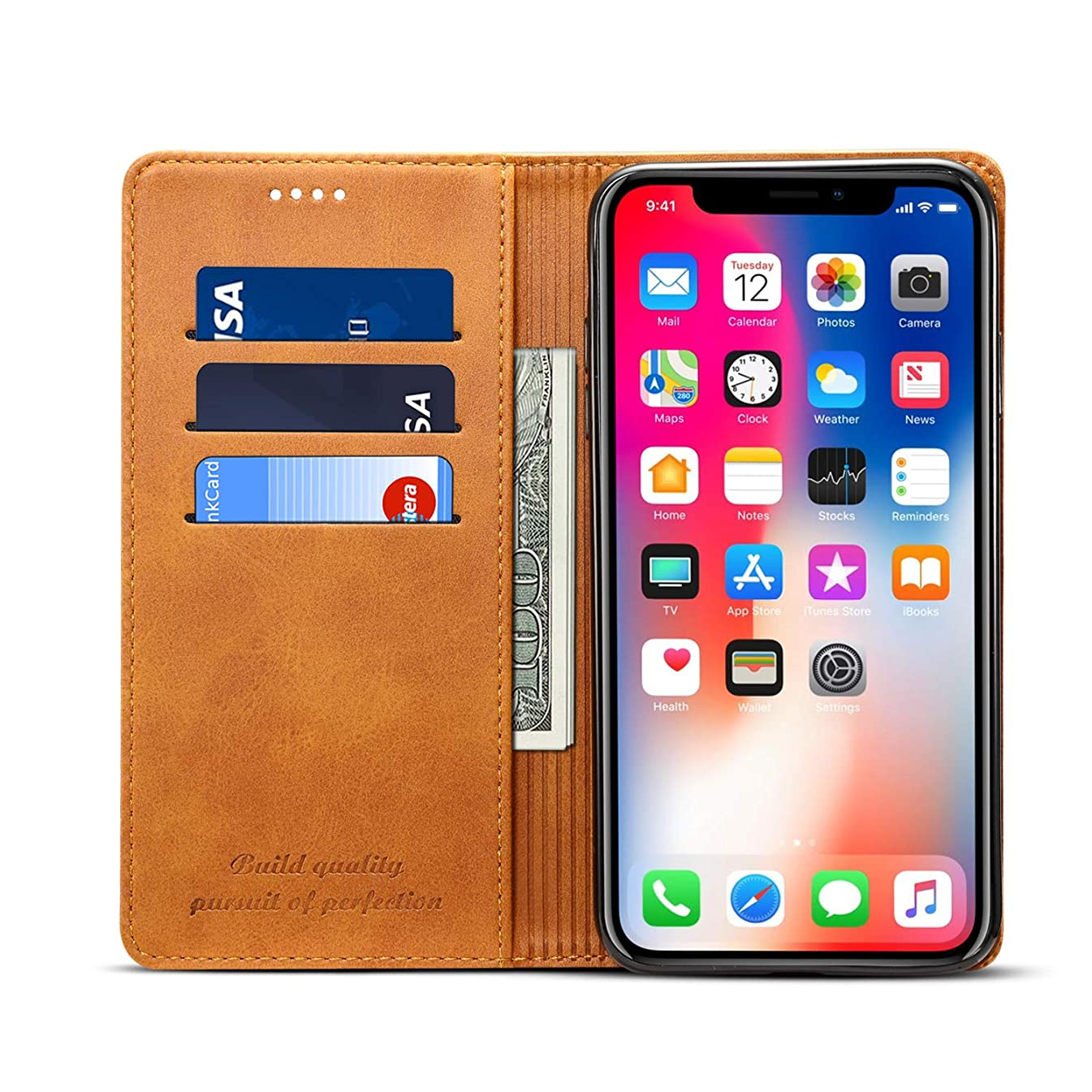 ヒールアトム傑出したiPhone XS Maxのレザーケース、キックスタンドフリップカバー付きtaStoneプレミアムPUレザーウォレットケーススタイリッシュなスリムな耐衝撃保護ケース、iPhone XS Max用のスタンドとカードスロット付き、ライトブラウン