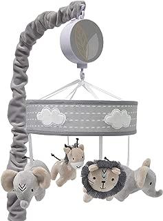 Lambs & Ivy Jungle Safari Musical Baby Crib Mobile - Gray, Beige, White, Animals