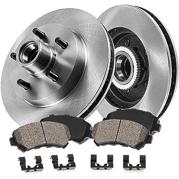 CRK13437 FRONT 286 mm Premium OE 5 Lug 4 Hardware Brake Disc Rotors + Ceramic Brake Pads 2