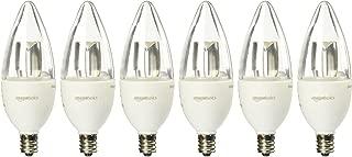 AmazonBasics 40 Watt Equivalent, Soft White, Dimmable, B11 LED Light Bulb | 6-Pack