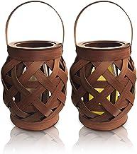 Lanterna Marroquina Marrom Lampião Decorativo Com Vela Led