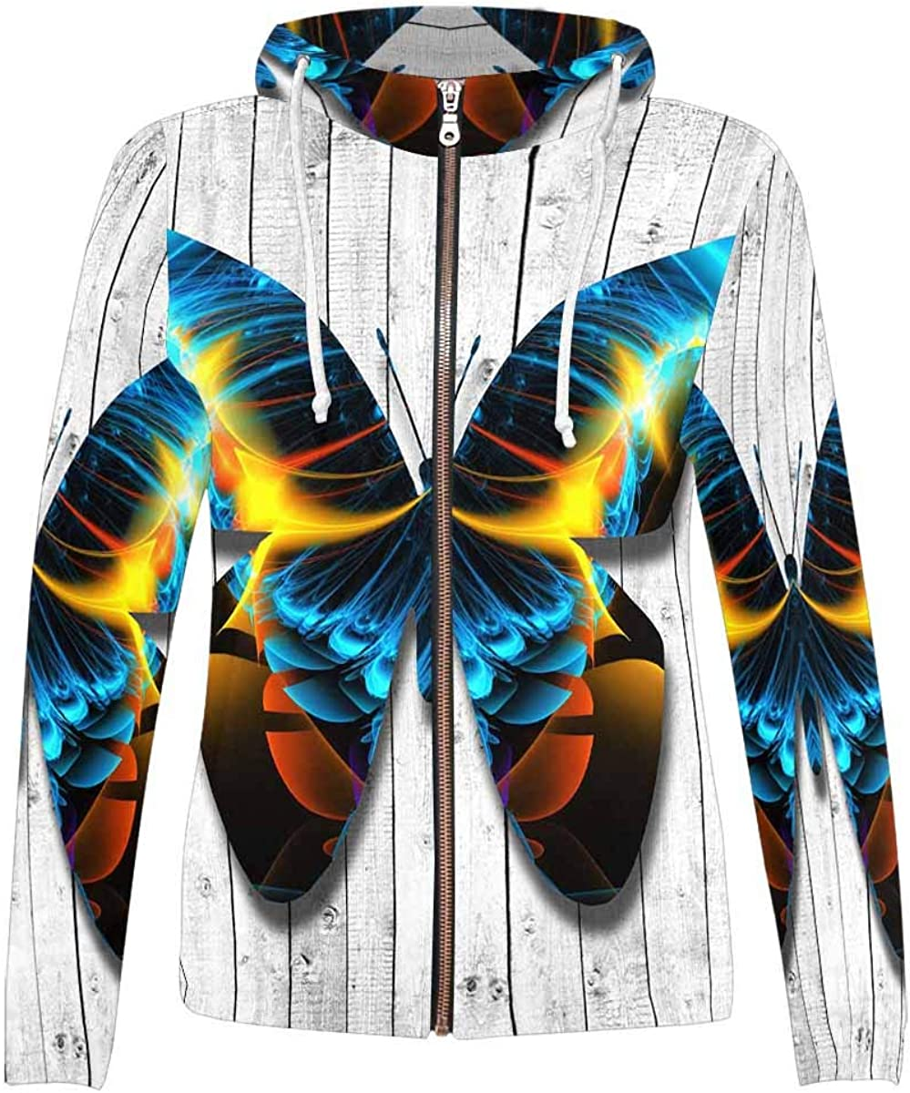 InterestPrint Casual All Over Print Popular brand in the world Hoodie Pocket Zip Full with Purchase