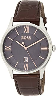 Hugo Boss 1513484 Men's Quartz Watch, Analog Display and Leather Strap, Grey