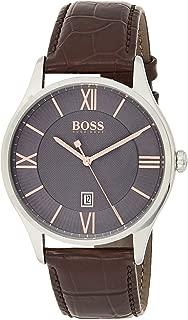 Hugo Boss 1513484 Men's Quartz Watch, Analog Display and Leather Strap, Grey