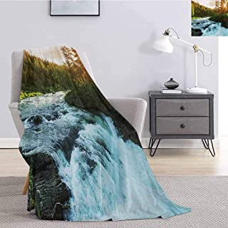 Luoiaax European Rugged or Durable Camping Blanket River in Norway Sunrise Sunbeams Through Pine Trees Springtime Scenic Warm and Washable W70 x L90 Inch Baby Blue Apple Green