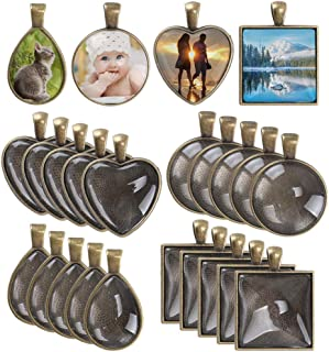 Anpatio Pendant Trays 48pcs Glass Cabochon Dome Setting Round Square Heart Teardrop Jewelry Bezel Vintage Bronze Pendant Base for Photo Earrings Necklace Craft Jewelry Making 4 Styles 25mm