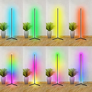 """Prettyia Corner Floor Lamp - RGB Color Changing Mood Lighting, Dimmable LED Modern Floor Lamp with Remote, 61.5"""" Metal St"""