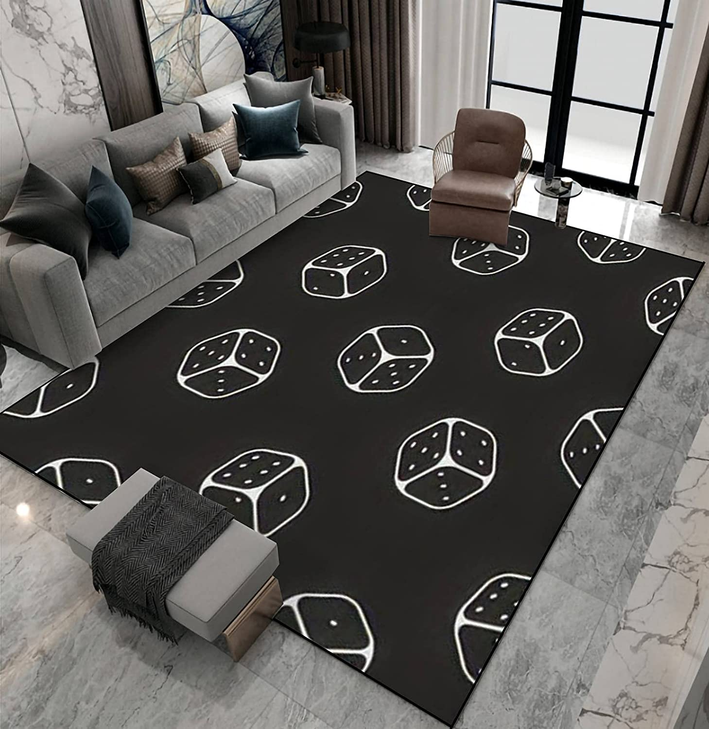 Area Rug Non-Slip Floor Mat Dealing full price reduction Dice line Seamless Mon Chicago Mall Icons Pattern