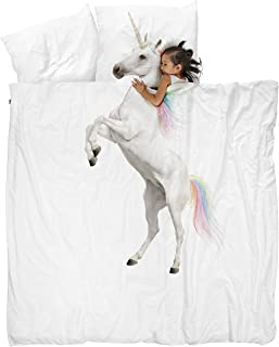 Snurk Full Queen Duvet Cover and Pillowcase Set for Kids and Teens 100% Cotton Soft Cover – Unicorn Duvet Cover and Pillowcase