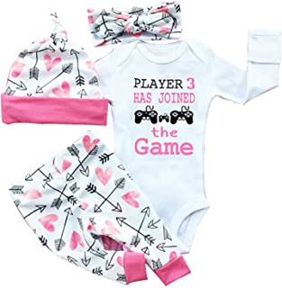 gllive Baby Girls' Clothes Long Sleeve Miracles Romper Outfit Pants Set +Hat+Headband 18-24 Months X-Black Play