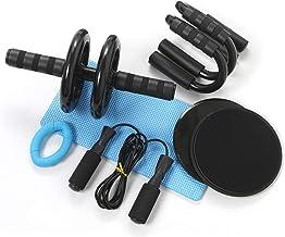 Azeekoom 8-in-1 buikspiertrainer-set, buikroller + anti-slip kniebeschermer + 2 glijschijven + 2 push-steunen + handtraine...