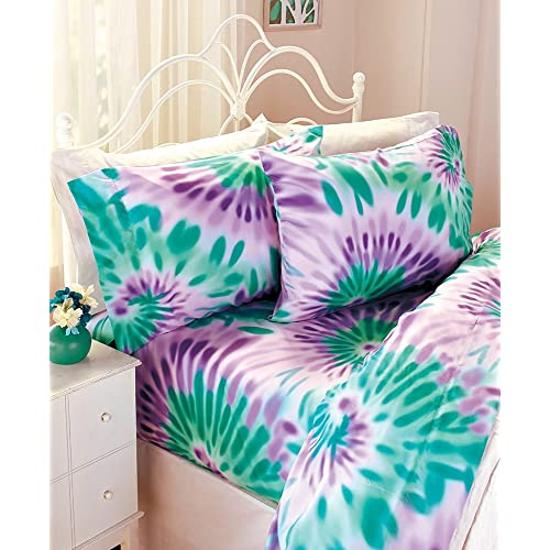 faba16a25846 The Lakeside Collection Full Good Vibes Tie-Dye Sheet Set-Sky