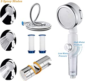 Handheld Shower Head meisort High Pressure Water Saving Adjustable Showerhead with ON//Off Pause Switch and 3-Settings Control Flow Bathroom Shower Accessorie
