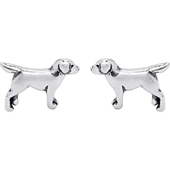 Boma Jewelry Sterling Silver Labrador Retriever Dog Stud Earrings