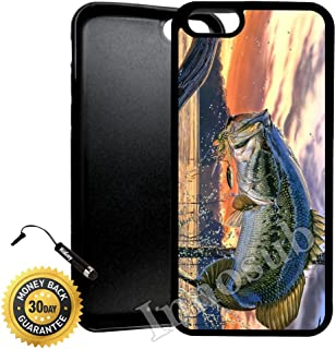 Custom iPhone 7 Plus Case (Pro Fishing Bass Mouth) Edge-to-Edge Rubber Black Cover with Shock and Scratch Protection | Lightweight, Ultra-Slim | Includes Stylus Pen by Innosub
