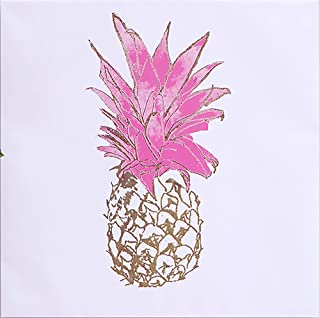 Intelligent Design, Gold Pineapple Wall Art - Gold Embellished Canvas, Modern Luxe Design Tropical Inspired Painting Living Room Accent Décor, Pink, 20 x 20