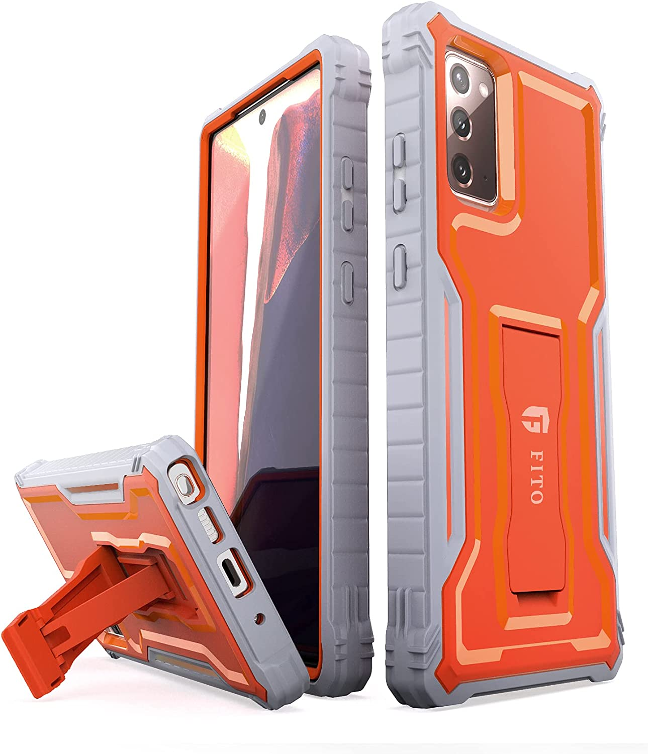 FITO Samsung Galaxy Note 20 Case, Dual Layer Shockproof Heavy Duty Case for Samsung Note 20 5G Phone Without Screen Protector, Built-in Kickstand(Orange, 6.7 inch)