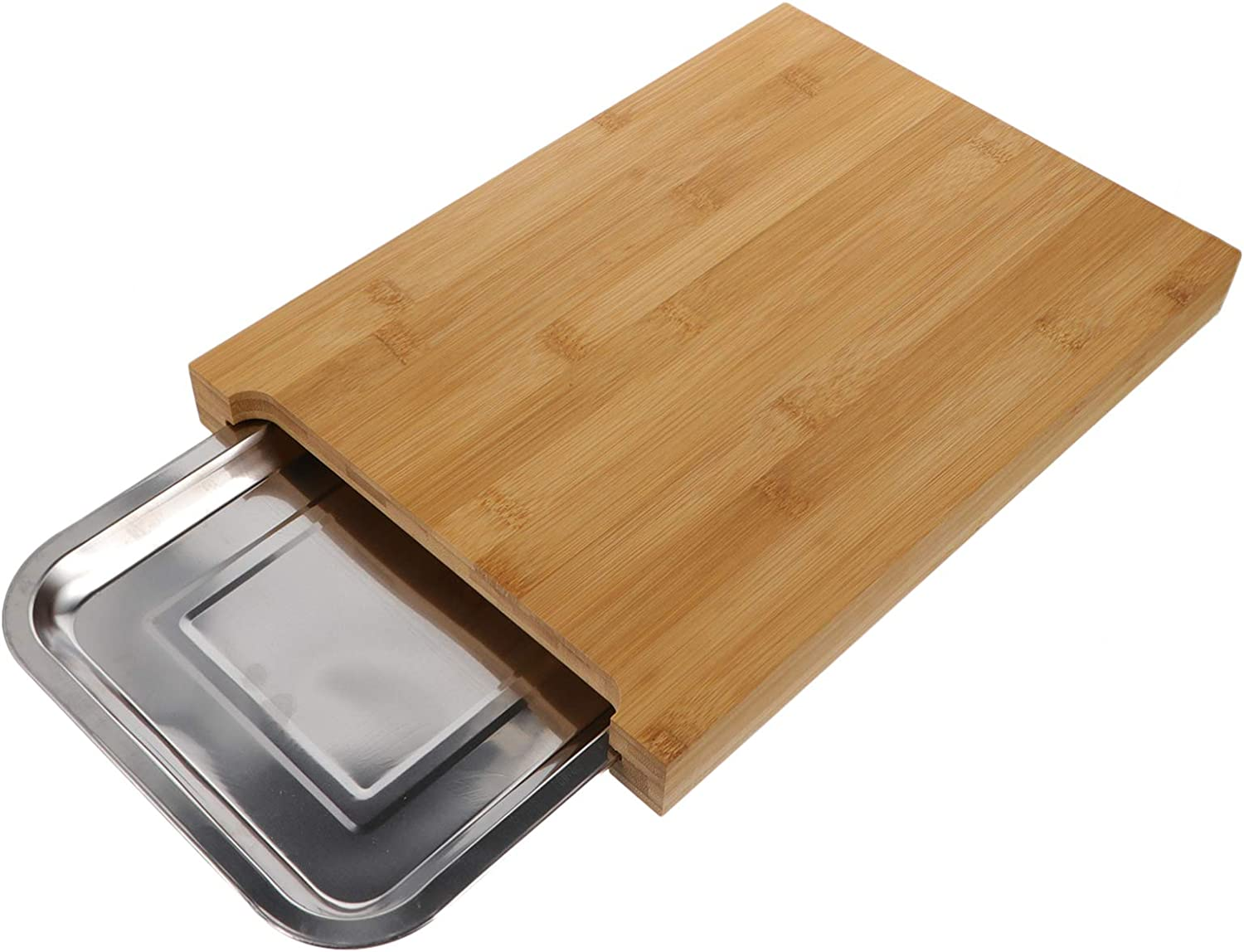 Hemoton Bamboo Cutting Board with Max 59% OFF Drawer Boar Some reservation Chopping Removable