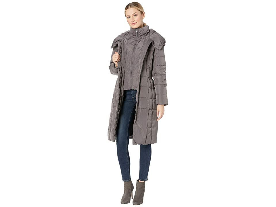 Cole Haan Quilted Down Coat with Bib Elasticated Side Waist Detail and Oversized Hood (Carbon) Women
