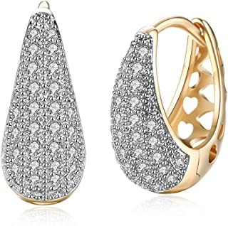 Yellow Chimes Crystals from Swarovski Classic Designer Gold Plated Stylish Hoop Earrings for Women and Girls