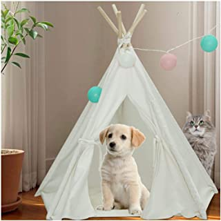 Pet Teepee Tent for Dogs Puppy Cat Bed Portable White Canvas Dog Cute House Indoor Outdoor Tent Small Medium Pet Teepee with Floor Mat 24inch Pet Teepee by Tanen (White Style)