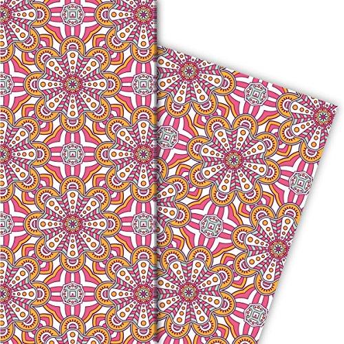 Kartenkaufrausch Kleurrijke ethno cadeaupapierset met boho bloemen voor leuke geschenkverpakking, designpapier, 4 vellen, 32 x 48 cm decorpapier, inpakpapier in roze geel
