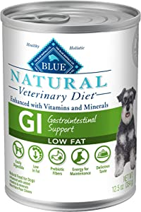 Blue Buffalo Natural Veterinary Diet GI Gastrointestinal Support Low Fat Dry Dog Food and Wet Dog Food, Whitefish