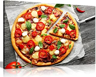 Italian Pizza On Wooden Board Food Restaurant Canvas Wall Art Picture Print (36x24in)