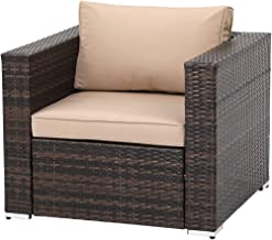 SUNCROWN Outdoor Furniture All Weather Brown Checkered Wicker Sofa Chair Additional Chair for 6-Piece Sets, Patio, Backyard, Pool, Machine Washable Cushion Covers