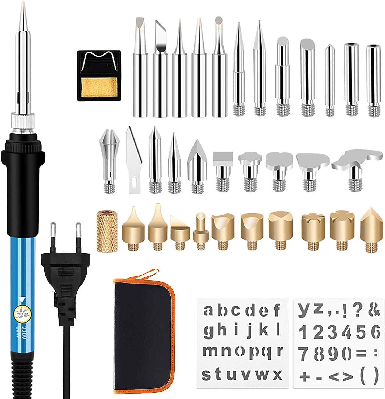 37pcs Kit Pirograbador de Madera, kit de soldadura WesKimed 60W, Temperatura Regulable(250-400℃), corcho/cuero/herramientas eléctricas/grabado/quema/gofrado,Estuche de transporte