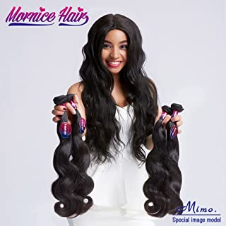 Brazilian Hair Bundles With Frontal Closure, Mornice 10A Body Wave 3 Bundles Virgin Human Hair Extensions 13x4 Ear To Ear Free Part Lace Frontal Natural Color (16 18 20 +14)