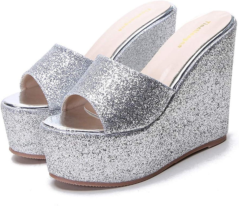 T -JULY kvinnor Platform Glids Bling Wedges Wedges Wedges Slippers Kvinnliga Glitter Loafers Guldsilversandaler  billig