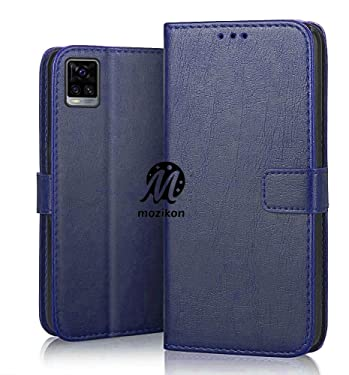 MOZIKON PU Leather Flip Wallet Case Vivo V20 Pro   TPU Shockproof Protection Cover for Vivo V20 Pro - Ultimate Blue