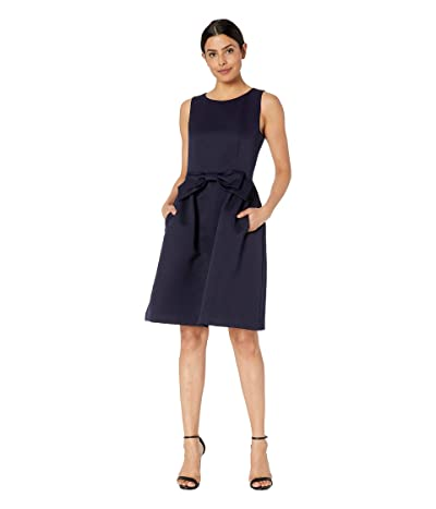 Tahari by ASL Bow Front Fit and Flare Textured Faille Dress (Navy) Women