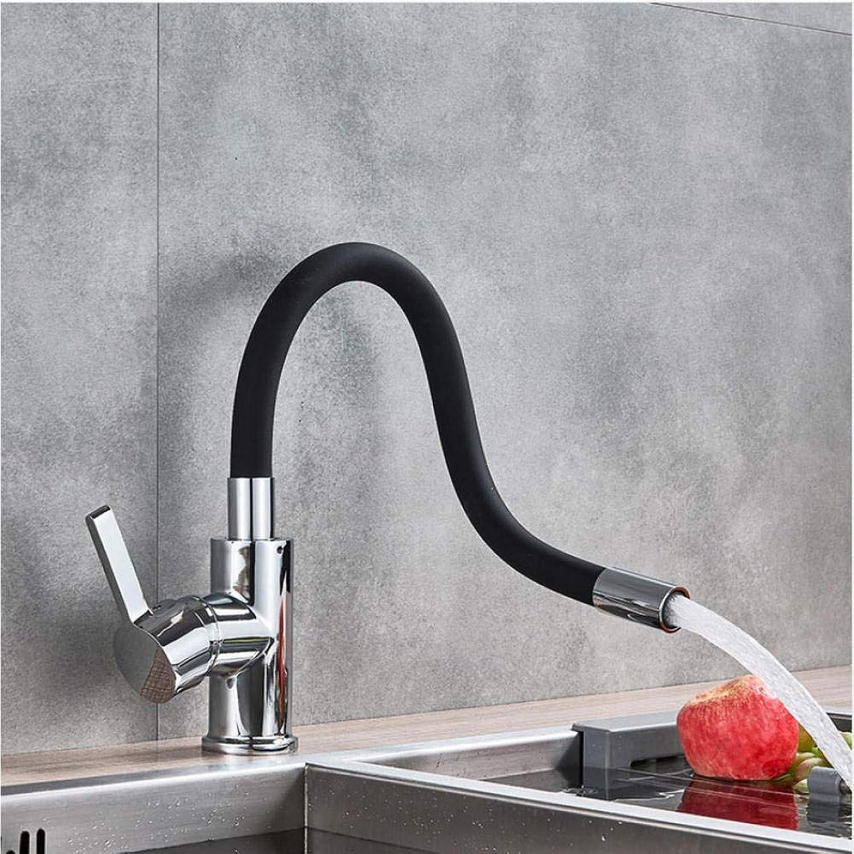 Schwarzes Rohr Küchenarmaturen Warmes und kaltes Wasser Armaturen Chrom Waschbecken Spültischmischer Küchenarmatur Deck montiert