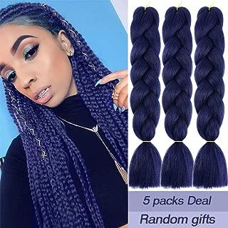 MYCHANSON Jumbo Braiding Hair Dark Blue Long Kanekalon Synthetic High Temperature Fiber African Twist Braids Hair (5pcs & Dark Blue)