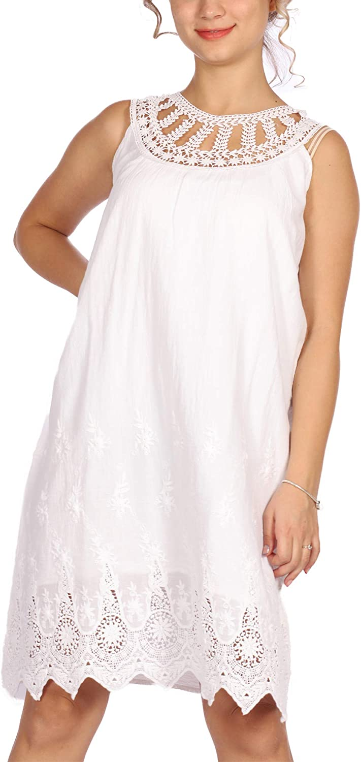 suAna Women's Embroidered Halter Neck Cotton Casual Shift Dress