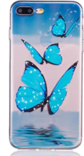 iPhone 8 Plus Case, iPhone 7 Plus Case, 3Cworld Ultra Thin Clear Art Pattern Crystal Gel TPU Rubber Flexible Slim Skin Soft Case for iPhone 7 Plus/iPhone 8 Plus (Butterfly Ocean - Sky Blue)