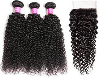 Brazilian Virgin Curly Hair Weave 3 Bundles with Lace Closure Free Part 4x4 8A 100% Unprocessed Brazilian Kinky Curly Human Hair Bundles With Lace Closure Natural Color (12 14 16+10')