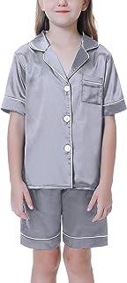 Hawiton niña Conjunto de Pijama de satén de Seda con Botones 2-11 años, Camiseta de Manga Larga y pantalón Largo 2 Piezas ...