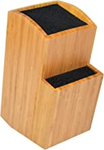 Bamboo Universal Knife Block - Extra Large Two-Tiered Slotless Wooden Knife Stand, Organizer & Holder - Convenient Safe Storage for Large & Small Knives & Utensils - Easy to Clean Removable Bristles