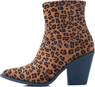 Lanyani Women's Chunky High Heel Ankle Boots Fashion Western Cowgirl Pointy Toe Booties Mid Calf Boots with Side Zipper