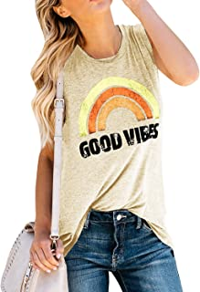 Beotyshow Womens Good Vibes Loose Shirt Cute Sexy Tank Tops Tunics Long Sleeve Less Graphic Rainbow T-Shirts