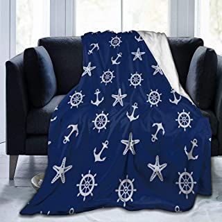 Delerain Anchor Starfish Flannel Fleece Throw Blanket 50