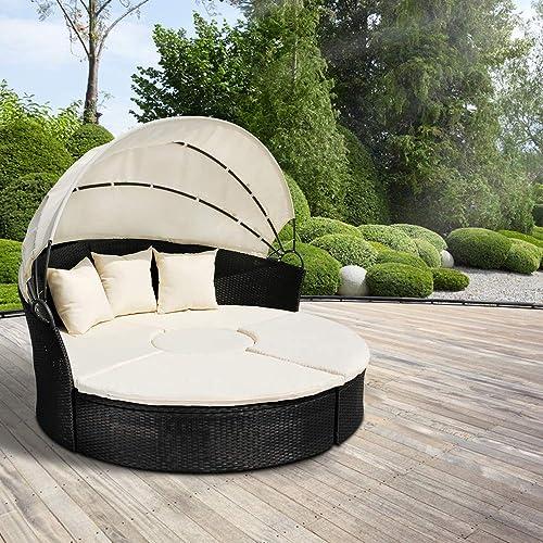 Miadomodo - Lit Canapé de Jardin Modulable en Résine Tressée Ø 180 cm avec Pare-Soleil (Modèle/Couleur au choix)